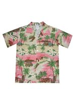 KY'S Surf Trip Red Cotton Poplin Boy's Hawaiian Shirt