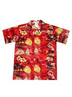 KY'S Classic Discovery Red Cotton Poplin Boy's Hawaiian Shirt