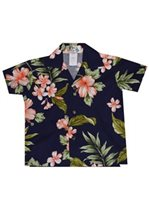 KY'S Hibiscus Garden Navy Blue w/Coral Cotton  Boy's Hawaiian Shirt