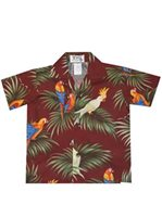 Ky's Parrot on Leaf Red Cotton  Boy's Hawaiian Shirt