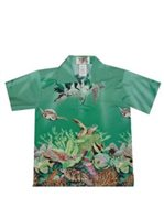 KY'S Coral Leef Honu Green Cotton  Boy's Hawaiian Shirt
