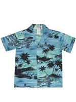 KY'S Hawaiian Airplane Blue  Cotton  Boy's Hawaiian Shirt