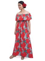 Coral of the Sea Hibiscus Palm Polyester/Spandex Hookipa Maxi Dress