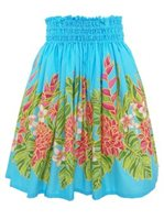 Ginger  Heliconia Turquoise Poly Cotton Single Pau Skirt