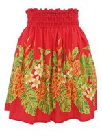 Ginger  Heliconia Red Poly Cotton Single Pau Skirt