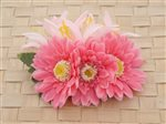 Pink Daisy & Spider Lily Hair Clip 4.25""