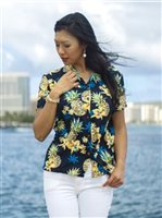 Two Palms Golden Pineapple Navy Rayon Women's Hawaiian Shirt