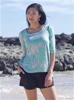 Coral of the Sea Tapa Aqua Polyester Spandex Kai Top