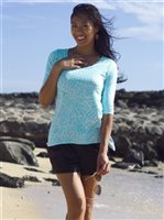 Coral of the Sea Island Leaf Turquoise Polyester Spandex Kai Top