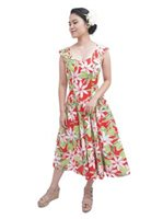 [Exclusive] Tiare Red Poly Cotton Hawaiian Midi Sundress