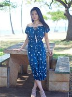 Angels by the Sea Palm Tree  Navy Rayon Long Dress