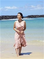 Angels by the Sea Palm Tree  Pink Rayon Ruffle Long Dress