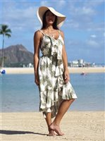 Angels by the Sea Palm Tree Leaves Olive Rayon Ruffle Long Dress