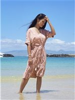 Angels by the Sea Palm Tree  Pink Rayon Short Dress