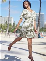 Angels by the Sea Palm Tree Leaves Olive Rayon Short Dress