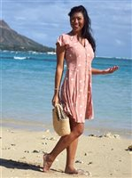 Angels by the Sea Palm Tree  Pink Rayon Mini Dress