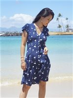 Angels by the Sea Palm Tree  Navy Rayon Mini Dress