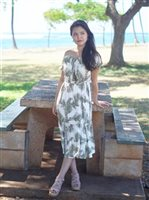 Angels by the Sea Palm Tree Leaves Olive Rayon Long Dress