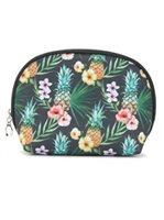 Happy Wahine Pineapple Black Nylon Round Pouch
