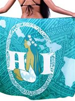Hinano Tahiti Seige Teal Screen Printed Pareo