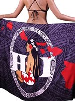 Hinano Tahiti Seige Black Screen Printed Pareo