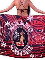 Hinano Tahiti Warrior Black Screen Printed Pareo