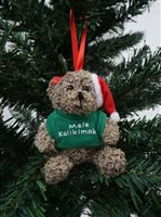 Bear & Mele Kalikimaka Green Hawaiian  Ornament
