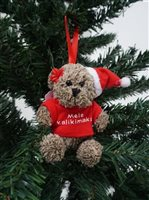 Bear & Mele Kalikimaka Red Hawaiian  Ornament
