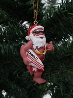 Santa Holding Surfboard  Hawaiian  Ornament