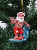 Santa Surfing Hawaiian  Ornament