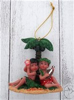 Couple & Palm Tree Hawaiian  Ornament
