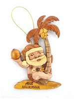 Aloha Wood Art Santa Climbing Palm Tree Wood Ornament