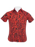 Hinano Tahiti Kapula Red Cotton Men's Hawaiian Shirt