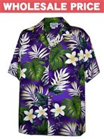 [Wholesale] Pacific Legend Plumeria & Monstera Purple Cotton Men's Hawaiian Shirt