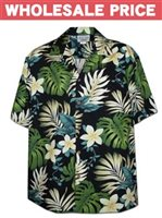 [Wholesale] Pacific Legend Plumeria & Monstera Black Cotton Men's Hawaiian Shirt