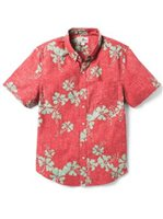 Reyn Spooner 50th State Flower Pompeian Red Cotton Men's Tailored Fit Hawaiian Shirt