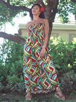 Banana Leaf Red Rayon Hawaiian Summer Maxi Dress