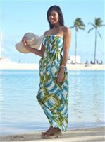 Banana Leaf White Rayon Hawaiian Summer Maxi Dress