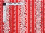 Kukui nut & Leaves Red & Cream Poly Cotton LW-19-701