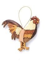 Aloha Wood Art Rooster Wood Ornament