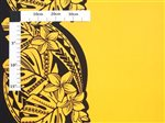 Plumeria & Monstera Festival  Yellow & Black Poly Cotton LW-19-714