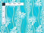Hula Tapa Lehua Turquoise & Off White Poly Cotton QSQ-19-1004