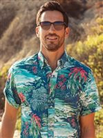 Reyn Spooner Waterfall Valley Medieval Blue Polycotton Men's Hawaiian Shirt Button Front