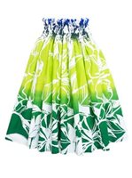Hibiscus & Leaves Blue & Green Poly Cotton Single Pau Skirt