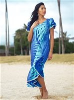 [Exclusive] Anuenue Ginger Turquoise & Royal Poly Cotton Hawaiian Myra Long Muumuu Dress