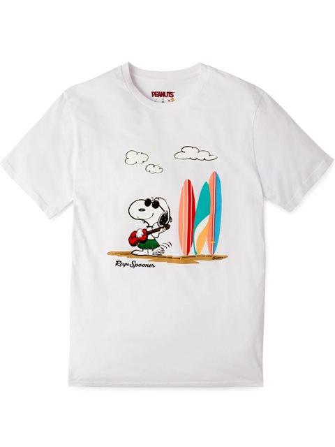 Reyn Spooner Ukulele Snoopy White Cotton Men's Hawaiian T-shirt