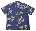 Paradise Found Bamboo Paradise Navy Rayon Men's Hawaiian Shirt