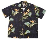 Paradise Found Bamboo Paradise Black Rayon Men's Hawaiian Shirt