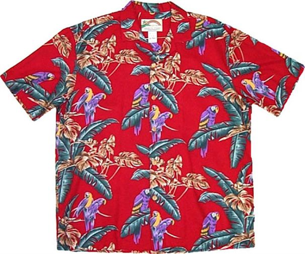 e71c5eb7 Paradise Found Jungle Bird/Red Men's Hawaiian Shirt | AlohaOutlet