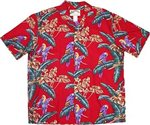 Paradise Found Jungle Bird/Red Men's Hawaiian Shirt